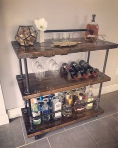 DIY Industrial Bar Cart Plans - Easy to Follow - YOU Can Build This!! by RaiseTheBarPlans on Etsy https://www.etsy.com/listing/534326691/diy-industrial-bar-cart-plans-easy-to