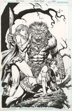 Here's a cover David Finch and I did for Zenescope. Warlord of Oz I've not seen the printed book but so I am not sure if it's on the st. Warlord of Oz cover David Finch Richard Friend Fantasy Drawings, Fantasy Kunst, Fantasy Art, Comic Book Pages, Comic Books Art, Book Art, David Finch, The Maxx, Black And White Comics
