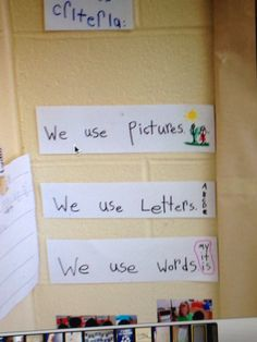 Success criteria for writing in kindergarten                                                                                                                                                                                 More Writing Center Kindergarten, Full Day Kindergarten, Kindergarten Bulletin Boards, Kindergarten Anchor Charts, Kindergarten Language Arts, Learning Targets, Assessment For Learning, Learning Goals, Formative Assessment
