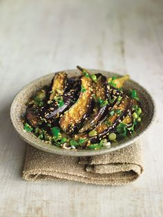 // Steamed Eggplant with Sesame Dressing