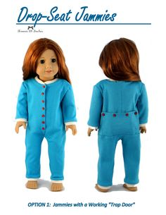 """Drop-Seat Jammies 18"""" Doll Clothes"""