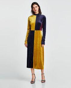 ZARA - NEW COLLECTION - VELVET COLOR BLOCK DRESS