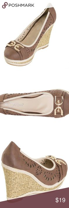 NIB Tory K buckled espadrilles hw1674 brn 9 Brand new Tory K coffee espadrilles with a posh buckle and plaited wedge. Soft sole , very comfortable, true to size. Selling super cheap because the box they were in was damaged. Shoess are in perfect condition! Tory k Shoes Espadrilles