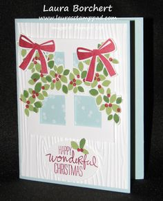 """Technique Tuesday – Garland in the Window! Wondrous Wreath Stampin' Up Stamp Set, Wonderful Wreath Framelits, 1"""" Square Punch, Window Frame, www.LaurasStampPad.com"""