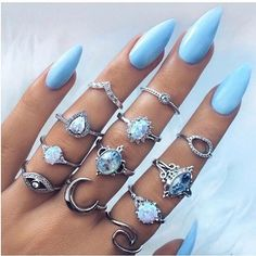 Retro Jewelry Buy Opal Vintage Silver Plated Arcylic Crystal Ring Set Charm Exquisite Elegant Finger Ring Sets Women Accessories at Wish - Shopping Made Fun - Acrylic Nail Designs, Nail Art Designs, Design Art, Nails Design, Ring Designs, Hair And Nails, My Nails, Opal Nails, Acrylic Nails Natural