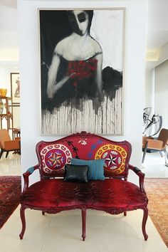 A George Bassil painting above a funky settee in the gorgeous home of an art collector in Amman-Jordan