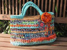 Crocheted purse made from Tshirt scraps