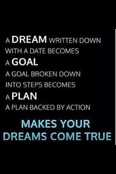 First of all you have to dream! Then you've got to have a vision on your dream. Then plan your actions to make that dream come true! Dreams Do Come True, Dream Come True, Monday Motivation, Motivation Inspiration, Workout Inspiration, Motivate Yourself, Make It Yourself, Empowering Quotes, Reasons To Smile