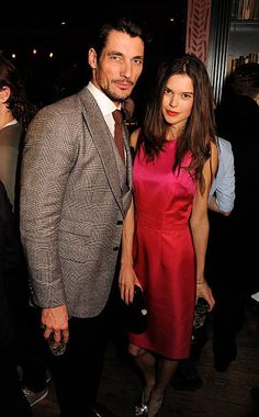 David Gandy and ex-Sarah Ann Macklin attended Esquire & Tommy Hilfiger Celebrate London Collections: MEN AW13 - Inside