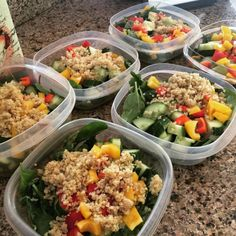salad greens and raw veggies with quinoa, beans, cooked chicken, or hard-boiled eggs