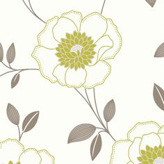 Arthouse Diva Floral Wallpaper in Lime Green and Taupe - http://www.godecorating.co.uk/arthouse-diva-floral-wallpaper-lime-green-and-taupe/
