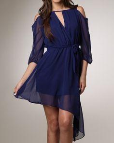 Hi Low Hem Sexy Dress | Casual Day Dress | Blue Flowly Dress | Mocha Flowly Dress
