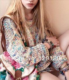 2014  Sweet Gentlewomen Topshop Vintage Rainbow jumper knitted Autumn -Summer Sweater LASION $14.90