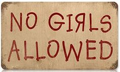 No Boys Allowed Humor Vintage Metal Sign - Victory Vintage Signs No Boys Allowed, Vintage Metal Signs, Custom Wood Signs, Wooden Signs, Silhouette Cameo Projects, Room Signs, Personalized Signs, Unusual Gifts, Man Cave