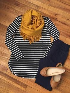 Navy stripe long sleeve   Country Faith Boutique