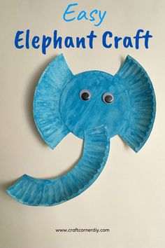 E is for elephant. This easy paper plate elephant craft pairs well with the Elephant and Piggie books and Horton Hears A Who. Easy Crafts For Kids, Toddler Crafts, Preschool Crafts, Preschool Elephant Crafts, Safari Crafts, Preschool Learning, Paper Plate Crafts, Paper Plates, Paper Plate Masks