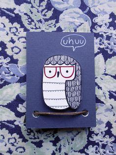 Owl badge, hand made brooch, original design  #etsy