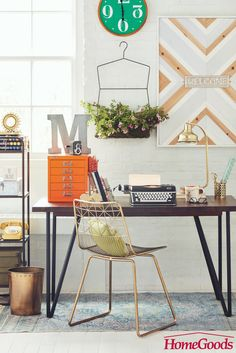 The industrial look is trendy & down to business. This at home workspace offers clean lines and functional storage options to provide you with the perfect space to get to work.  Head to HomeGoods to find all you need to work your workspace style.