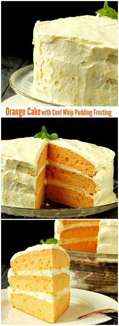 **Mmmmm*** Orange Cream Cake with Cool Whip Pudding Frosting- light, fuffy and full of citrus flavor! The zesty tanginess of this moist cake makes a mind blowing dessert! Cupcake Recipes, Cupcake Cakes, Dessert Recipes, Cupcakes, Just Desserts, Delicious Desserts, Yummy Food, Pudding Frosting, Yummy Treats