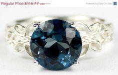 New Years Sale, 30% SR292, London Blue Topaz, 925 Sterling Silver Butterfly Filigree Ring by SylvaRocks2 on Etsy https://www.etsy.com/listing/183255034/new-years-sale-30-sr292-london-blue