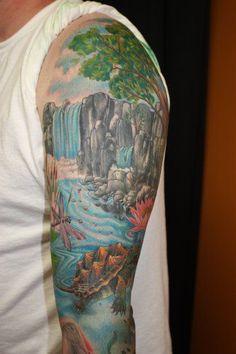 68edd6f93 Waterfall tattoo by Jeremy Buschmann #nature #tattoos #seaturtle # ...  Forest