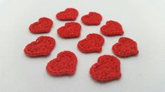 10 Red Micro Heart Crochet Appliques by HookTwineAndThinker