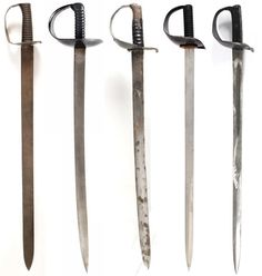 British Cutlasses, 1804-1900From left to right: Pattern 1804 Cutlass, Pattern 1845/58 Cutlass, Pattern 1859 Cutlass Bayonet, Pattern 1889 Cutlass, Pattern 1900 Cutlass.