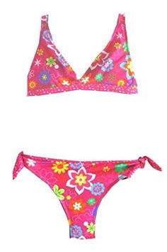 Girls 2 Pc Bikini Bra Top with Tie Sides Bottom  HotPinkFloral  78 ** Check out this great product.