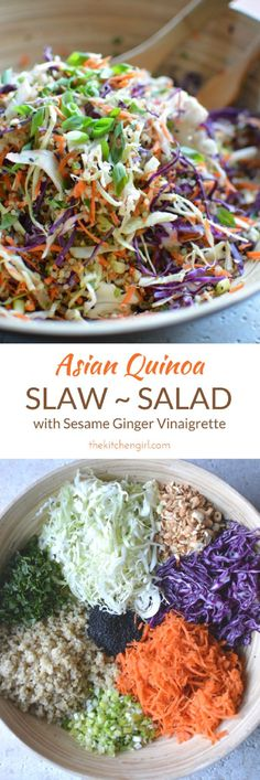 Eat clean with shredded vegetables, quinoa, and sesame ginger vinaigrette. GF, DF, Vegan, or add cooked chicken. Easy Asian quinoa slaw salad on thekitchengirl.com