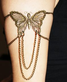 Lucky Butterfly Antique Bronze Armlet  by NightingaleWorkshop, $9.90