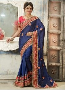 Navy blue saree with blouse. Work - Heavy zari, resham embrodiery with stone, diamond and lace border work. Indian Designer Sarees, Designer Sarees Online, Navy Blue Saree, Work Sarees, Party Wear Sarees, Saree Wedding, Wedding Designs, Hot Pink, Sari