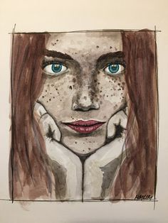 Beauty. Freckles. Blue eyes. Watercolor. A4. Kent 220g. 2H.