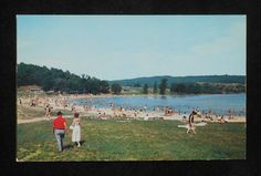 1950s The Beach at Shawnee State Park Schellsburg PA Bedford Co Postcard