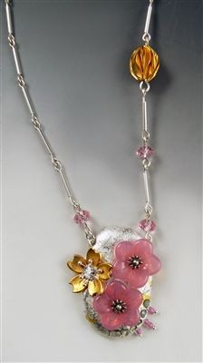 """""""PINK SILVER GOLD""""  polymer with covering of fine silver leaf and 23k. gold leaf, accented with Swarovski crystals, glass flower beads, sterling silver decorative headpins, glass beads, vintage cherry blossom jewelry finding."""