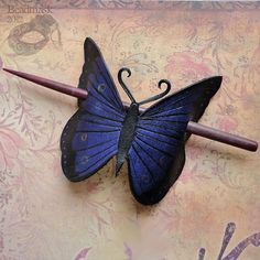 Indigo Butterfly Leather Hair Slide Or Barrette