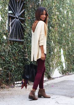 perfection - celine bag, booties, burgundy jeans, oversized sweater with button back