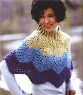 crochet ripple poncho - stripe it up Crochet Bolero, Crochet Ripple, Crochet Cape, Crochet Scarves, Crochet Clothes, Knit Crochet, Crochet Woman, Knitted Poncho, Crochet Accessories