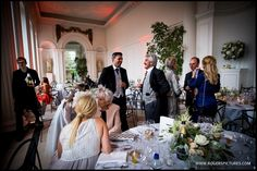 Wedding guests in the Orangery at Kensington Palace for Natalie and Chris's wedding -