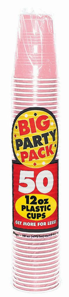 Big Party Pack 12oz Plastic Cups- New Pink