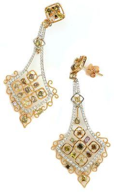 Chandelier earrings add class to any outfit. goo.gl/BRCIWo Item #437-8116 5.05 ctw Multi Color Diamond Multi-shape 18K 2 Tone Gold Dangle Earrings Gemstone Earrings, Dangle Earrings, Kids Ornament, Chandelier Earrings, Designer Earrings, Colored Diamonds, Diamond Rings, Natural Diamonds, Jewelery