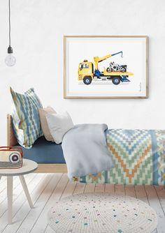 Tow Truck Print, MAN Tow Truck Printable, Transportation Nursery, Rescue Truck, Toddler Decor, Trucks Wall Art, Motorcycle, Vehicle Decor
