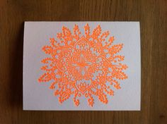 Letterpress Mandala Neon Orange