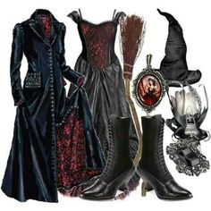 Victorian Witch Outfit for Halloween! Halloween Kostüm, Vintage Halloween, Halloween Costumes, Vintage Witch Costume, Halloween Makeup, Witch Fashion, Gothic Fashion, Witch Costumes, Witch Outfit