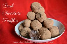 Dark Chocolate Truffles – decadent bites of silky dark chocolate. These only take four ingredients and a short amount of time to prepare. It's Christmas Eve and I've still got a few last minute things to make for friends and neighbors. This year, I'm giving everyone a truffle sampler. They'll get some White Chocolate Chai...