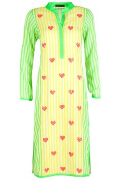 Green and yellow striped kurta available only at Pernia's Pop-Up Shop.