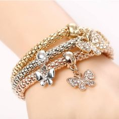 Thinking of a gift for your girlfriend? Here's 28% OFF! 3Pcs/Set Gold Silver Filled Charm Crystal Butterfly Elastic Multilayer Bracelets. Because it's Christmas time! Get yours here-->http://fieroinestore.com/product/28off3pcsset-gold-silver-filled-charm-crystal-butterfly-elastic-multilayer-bracelets/
