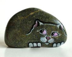 Miniature Petrified Cats. Buddies. Painted Rocks by qvistdesign                                                                                                                                                                                 More