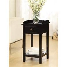 The Furniture of America Valencia Side Table - Black may have a small footprint, but it's loaded with style and storage. This small side table. Black End Tables, Black Side Table, Side Tables, Side Table With Drawer, Table Dimensions, Storage Drawers, Vases Decor, Display Shelves, Open Shelving