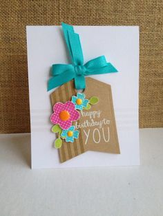 Reverse Confetti—Posies 'N Petals and All about You on this card.  Also used Confetti Cuts Tag me dies and So Stripey stamp set.