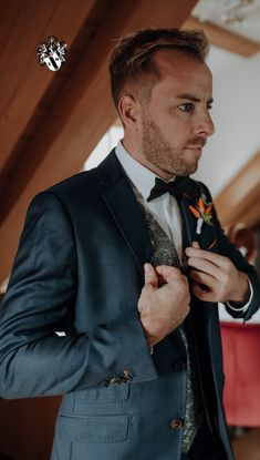 The groom is getting ready for saying his vows to his lovely fiance. Photo credit: Katrin Kerschbaumer Wedding Planner, Destination Wedding, Alps, Luxury Wedding, Photo Credit, Getting Married, Groom, Castle, Suit Jacket